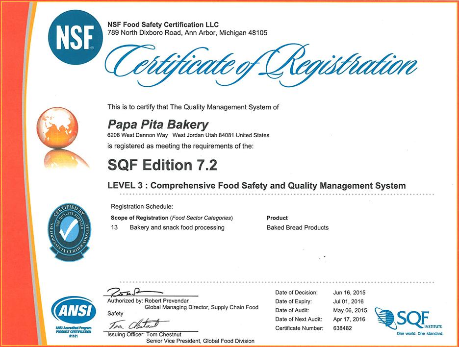 SQF-Certification-Papa-Pita-LVL3
